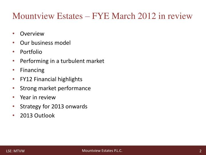 Mountview Estates – FYE March 2012 in review