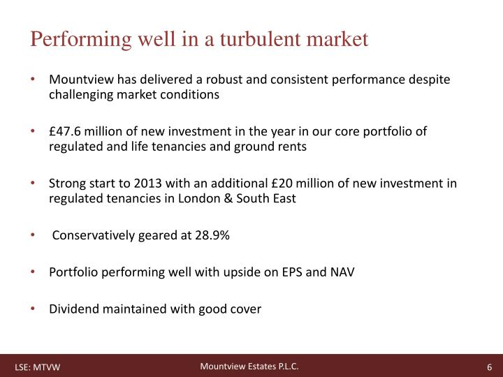 Performing well in a turbulent market
