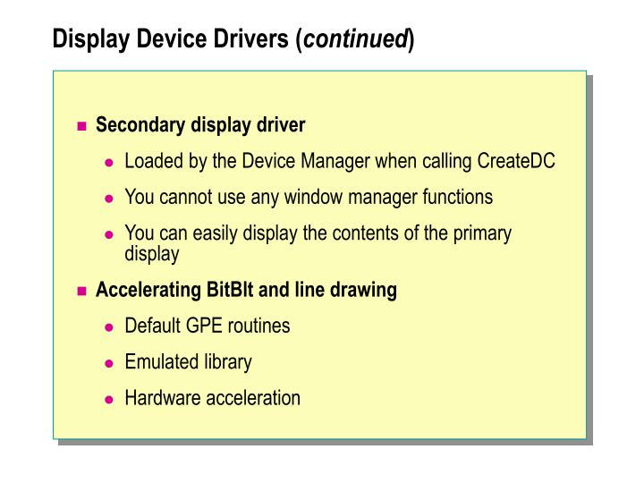 Display Device Drivers (