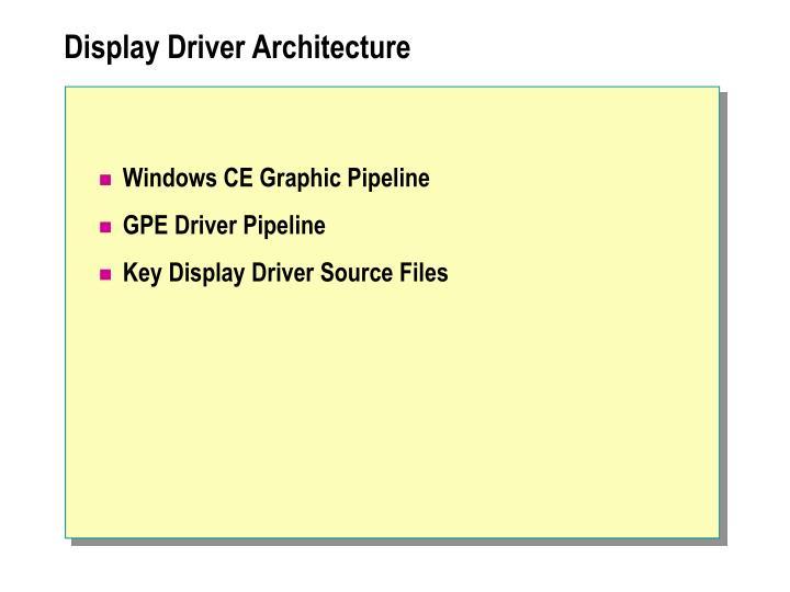 Display Driver Architecture