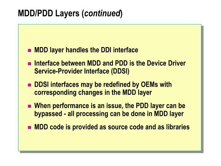 MDD/PDD Layers (