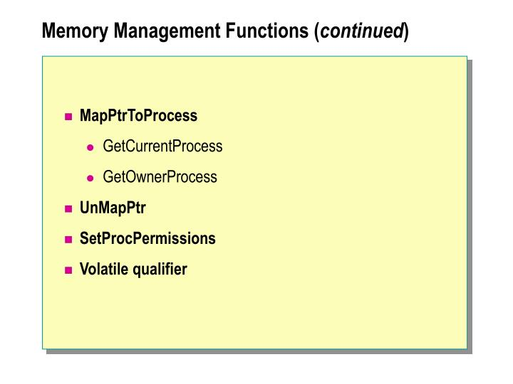 Memory Management Functions (
