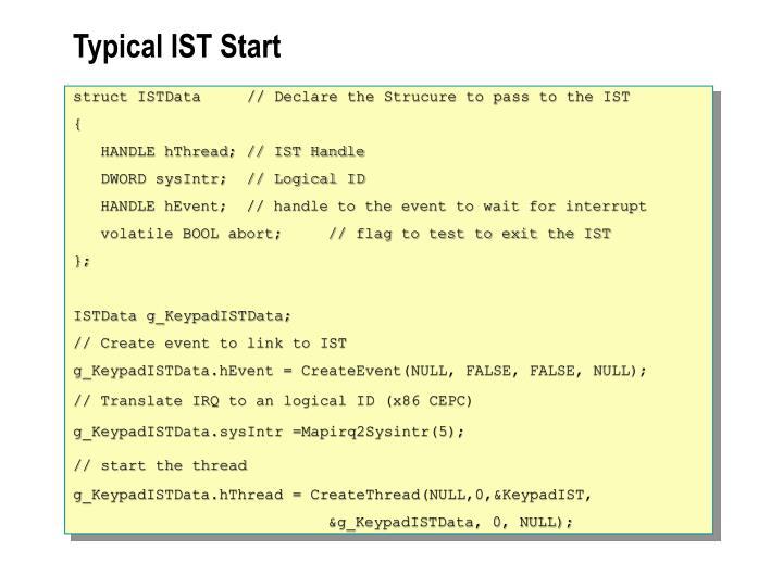 Typical IST Start