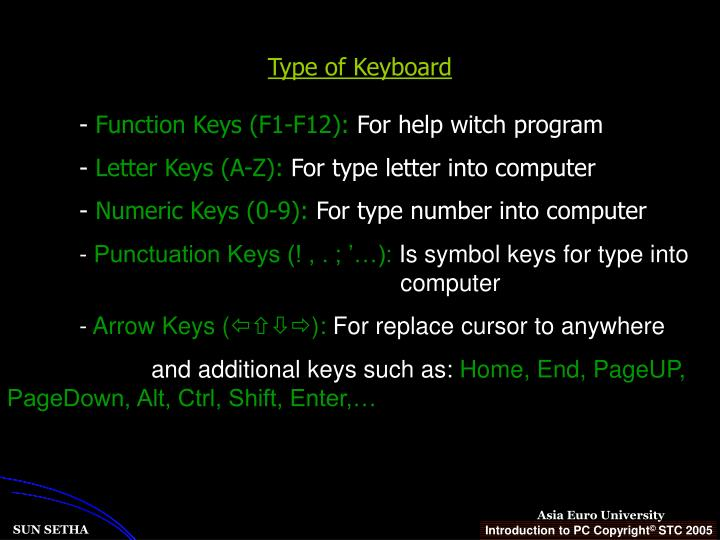 Type of Keyboard