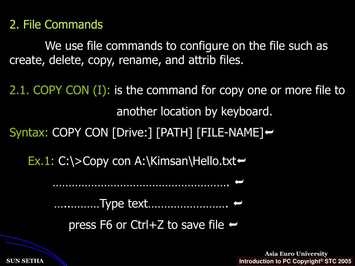 2. File Commands