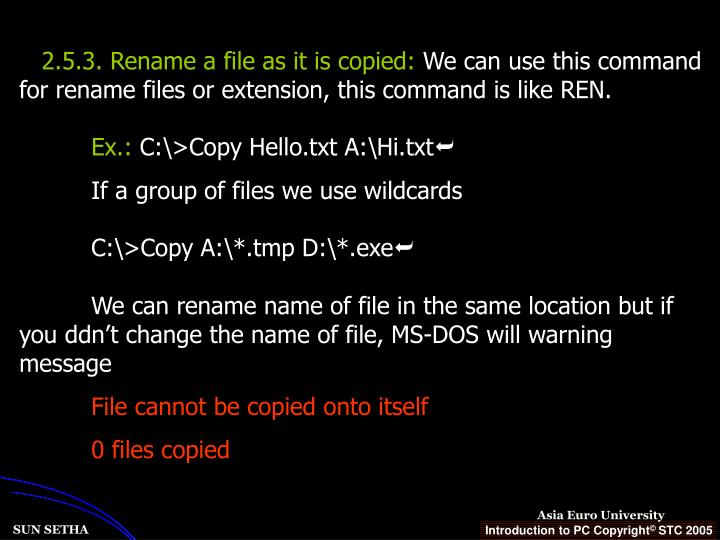 2.5.3. Rename a file as it is copied: