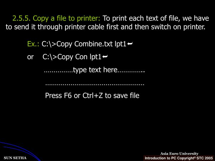 2.5.5. Copy a file to printer: