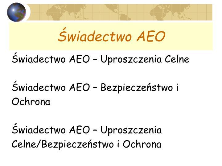 Świadectwo AEO