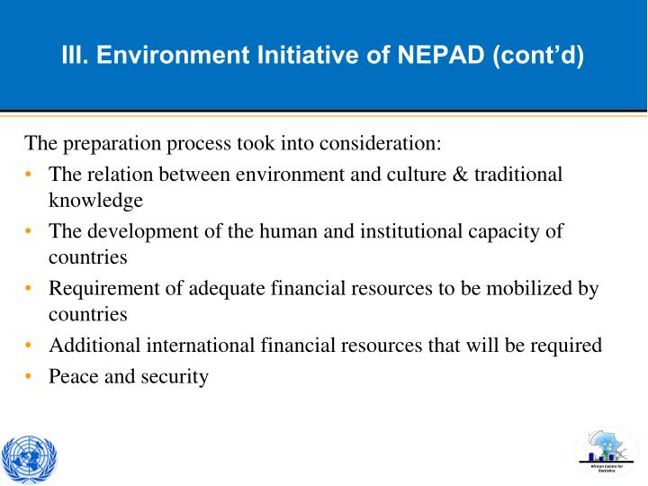 III. Environment Initiative of NEPAD (cont'd)