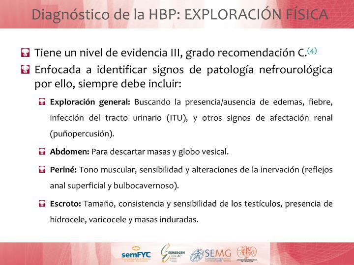Diagnóstico de la HBP: EXPLORACIÓN FÍSICA