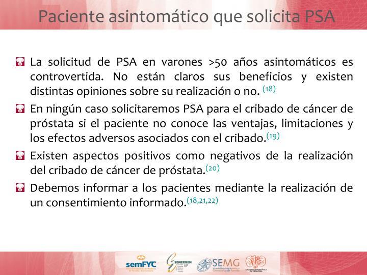 Paciente asintomático que solicita PSA