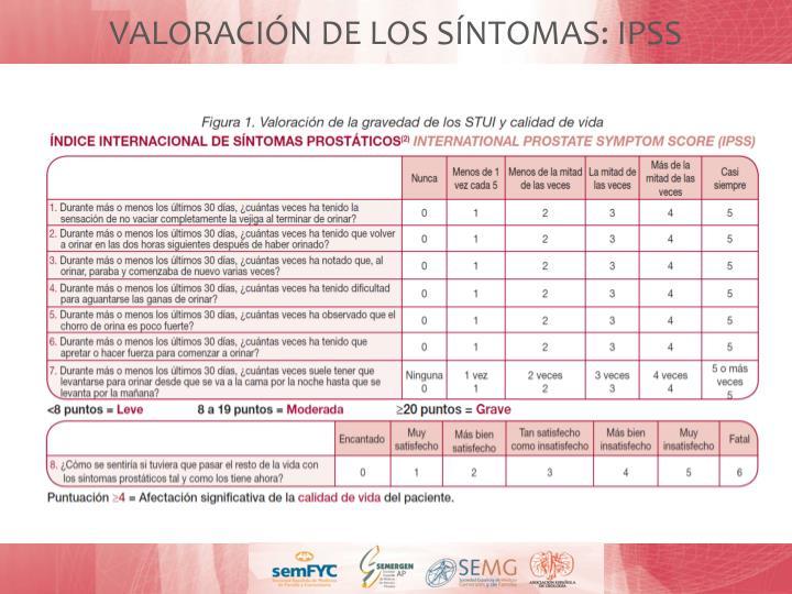 VALORACIÓN DE LOS SÍNTOMAS: IPSS