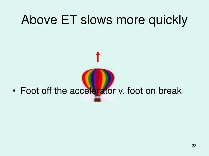 Above ET slows more quickly