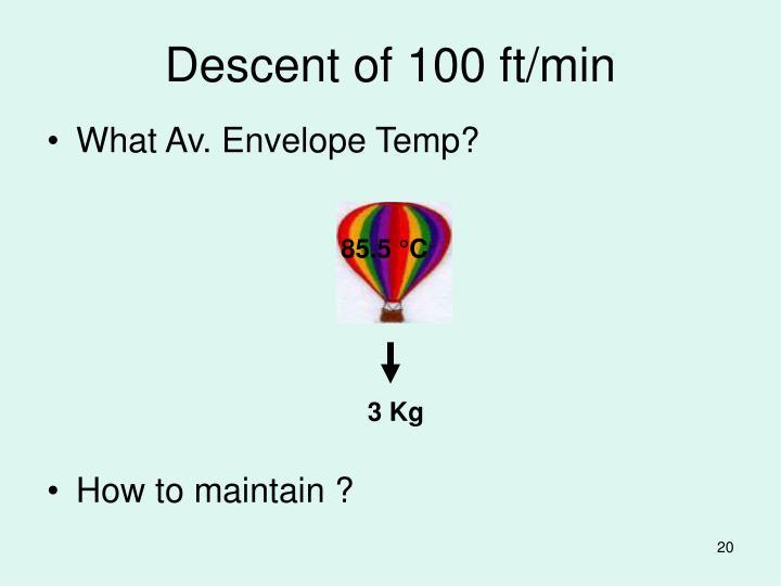 Descent of 100 ft/min