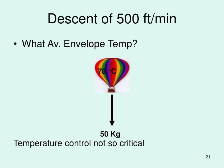 Descent of 500 ft/min