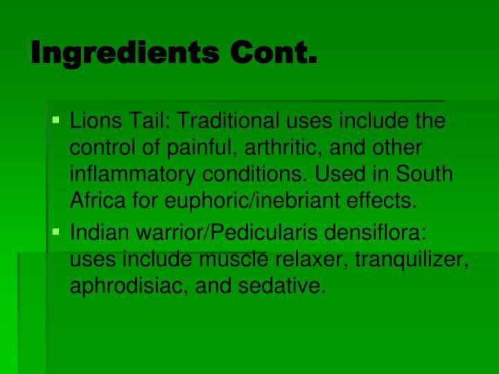 Ingredients Cont.