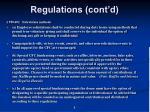 regulations cont d