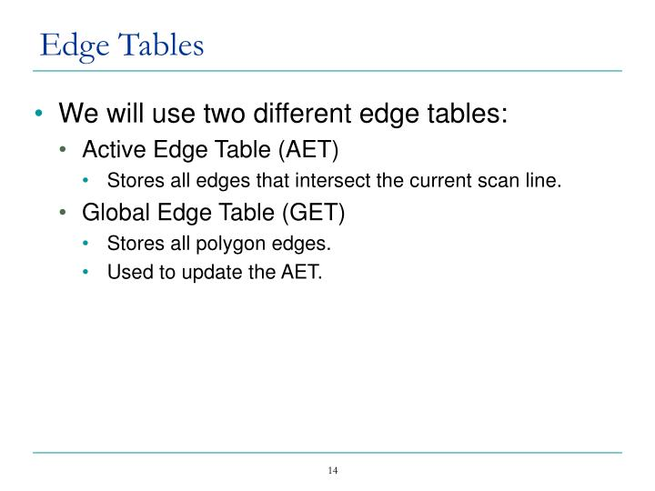 Edge Tables