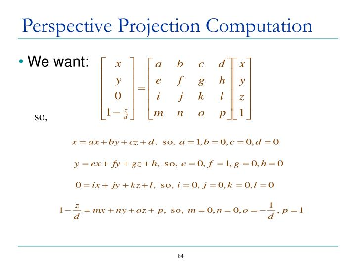 Perspective Projection Computation