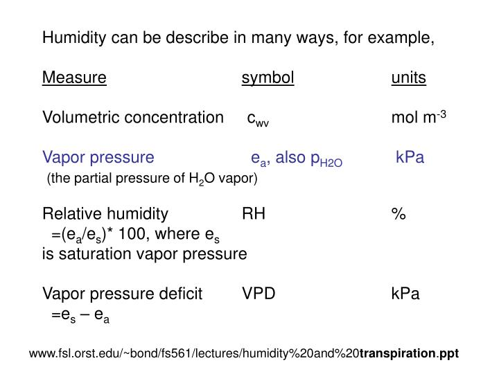 Humidity can be describe in many ways, for example,