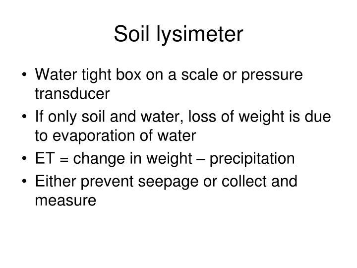 Soil lysimeter