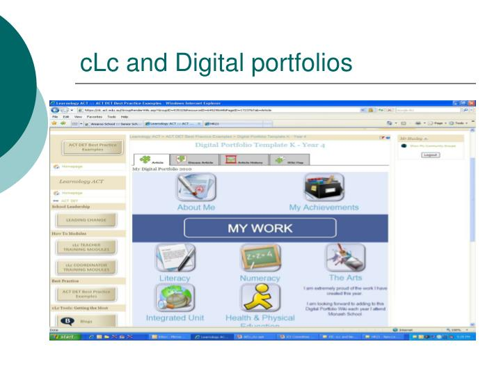 cLc and Digital portfolios