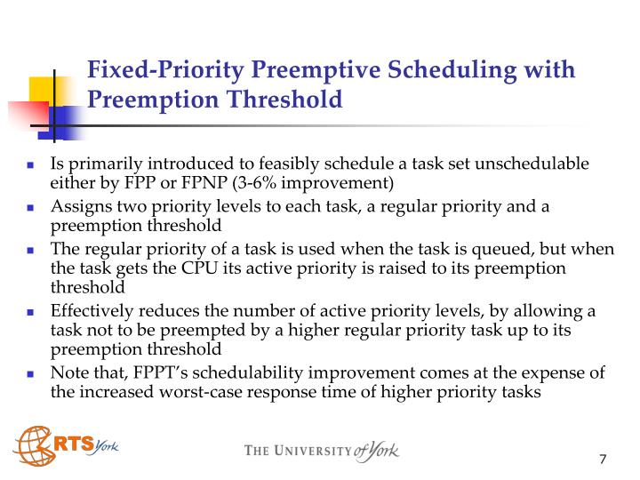 Fixed-Priority Preemptive Scheduling with Preemption Threshold