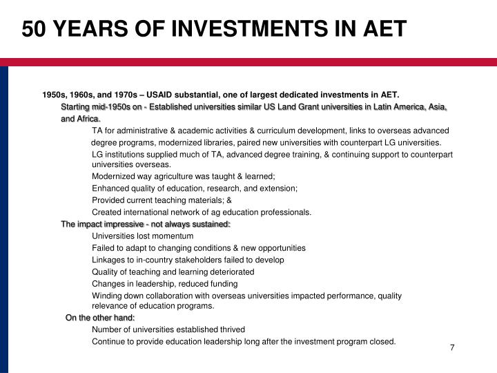 50 YEARS OF INVESTMENTS IN AET