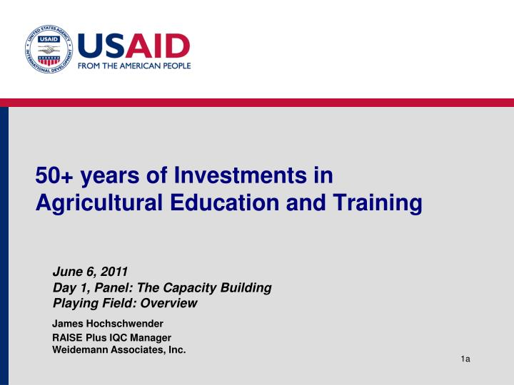 50 years of investments in agricultural education and training