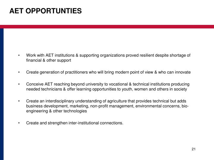 AET OPPORTUNTIES