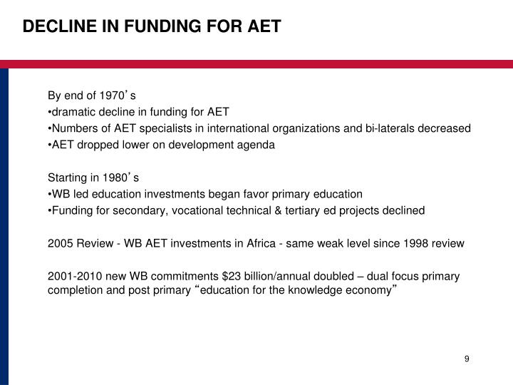 decline in funding for AET