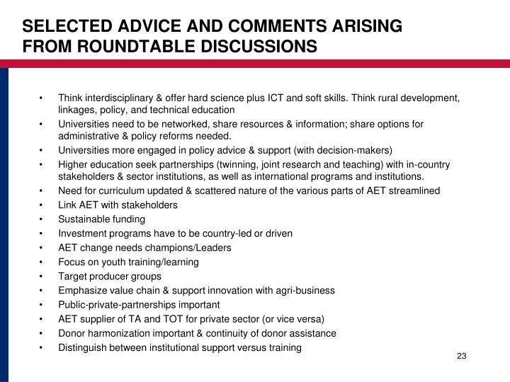 Selected advice and comments arising from Roundtable discussions