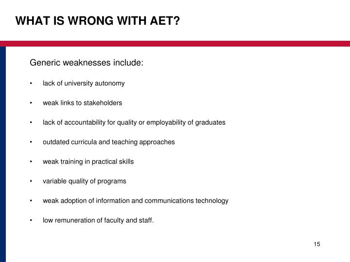 WHAT IS WRONG WITH AET?