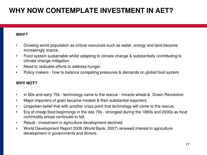 WHY NOW CONTEMPLATE INVESTMENT IN AET?