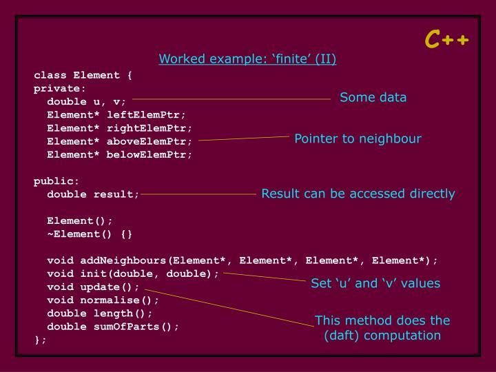 Worked example: 'finite' (II)