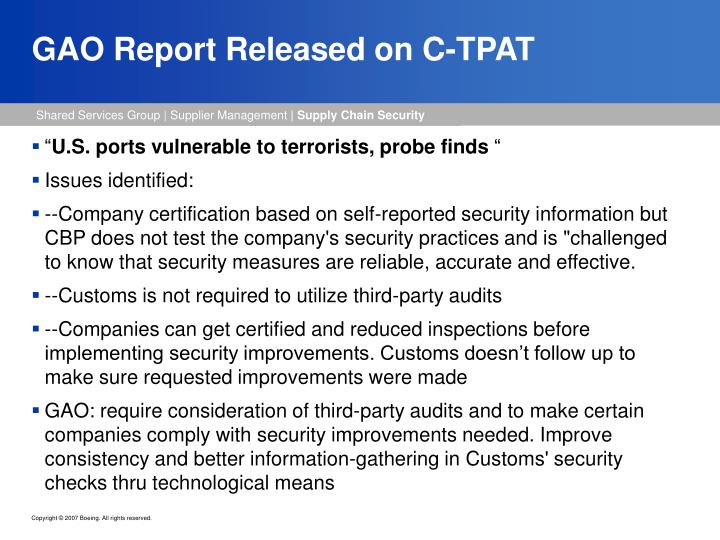 GAO Report Released on C-TPAT