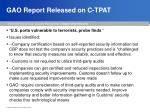 gao report released on c tpat