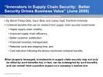 innovators in supply chain security better security drives business value june 2006