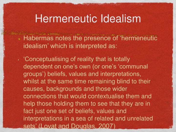Hermeneutic Idealism