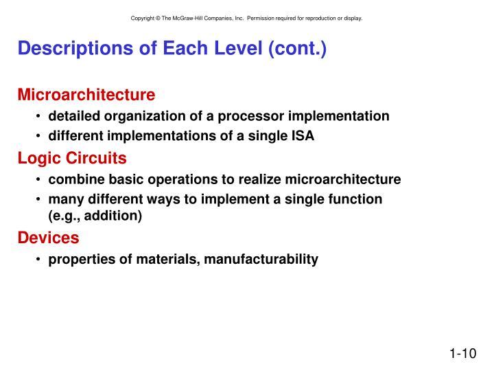 Descriptions of Each Level (cont.)