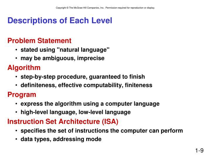 Descriptions of Each Level