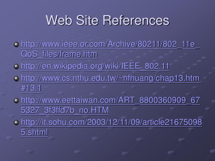 Web Site References