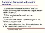 summative assessment and learning outcomes