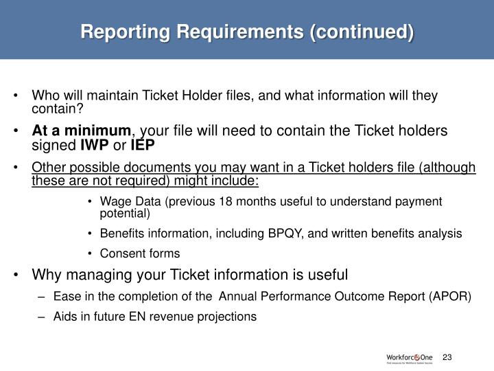 Reporting Requirements (continued)