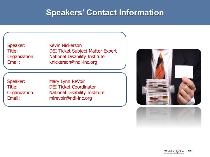 Speakers' Contact Information