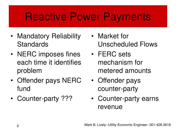 Reactive power payments
