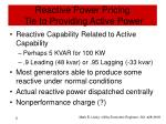 reactive power pricing tie to providing active power
