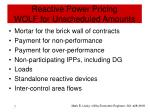 reactive power pricing wolf for unscheduled amounts