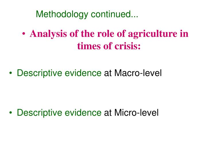Methodology continued...