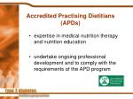 accredited practising dietitians apds